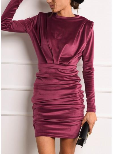 Sukienka PADDET SHOULDER welur fiolet