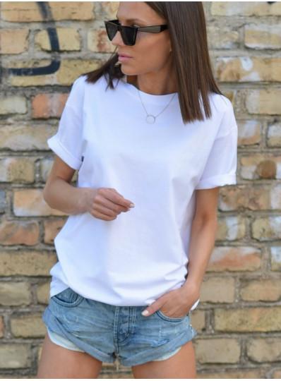 T-shirt O-neck biały