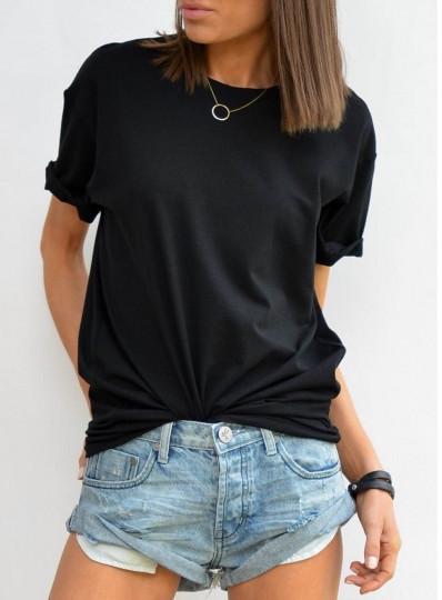 T-shirt O-neck czarny
