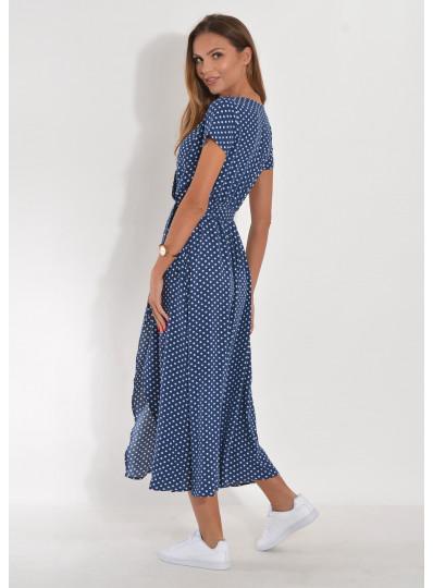 Sukienka midi zakładana w groszki