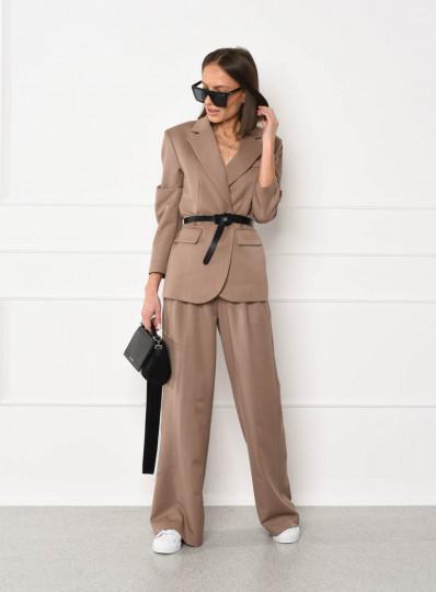 Szerokie spodnie z zakładkami beżowe