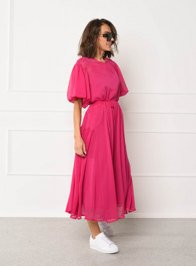 Sukienka o szerokim fasonie fuksja