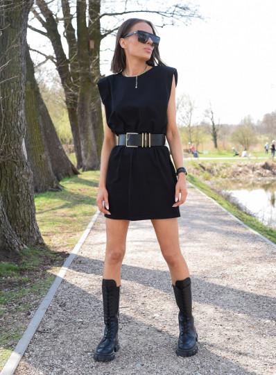 Sukienka Paddet shoulder czarna