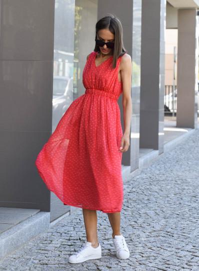 Sukienka malinowa w groszki