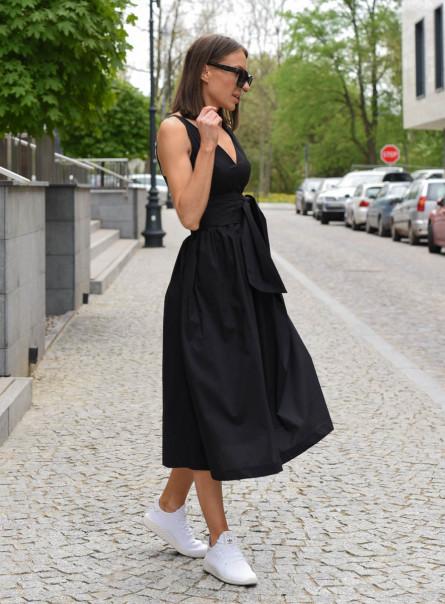 Sukienka Klara z szeroką szarfą czarna