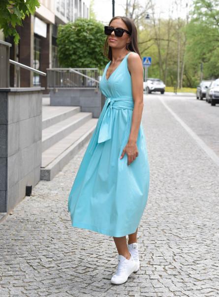 Sukienka Klara z szeroką szarfą miętowa