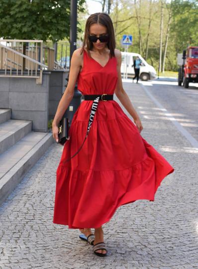 Sukienka Zena na ramiaczkach czerwona