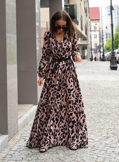Sukienka zakładana maxi panterka