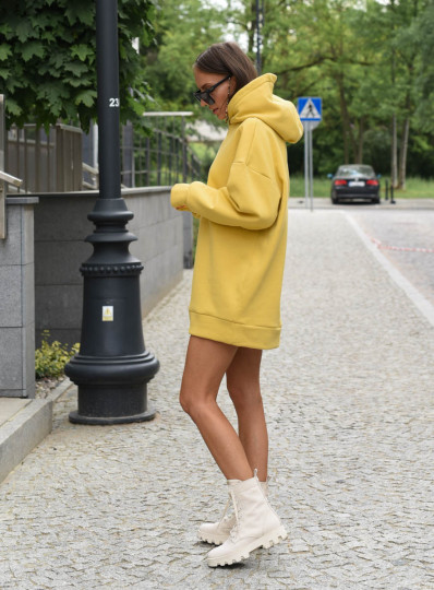 Bluza oversize z kapturem Misted Yellow