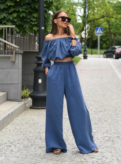 Bawełniany komplet w jeansowym kolorze