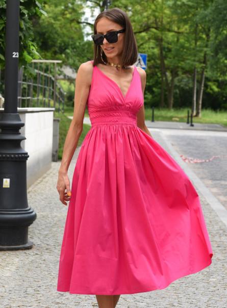 Sukienka z gumkami pod biustem róż