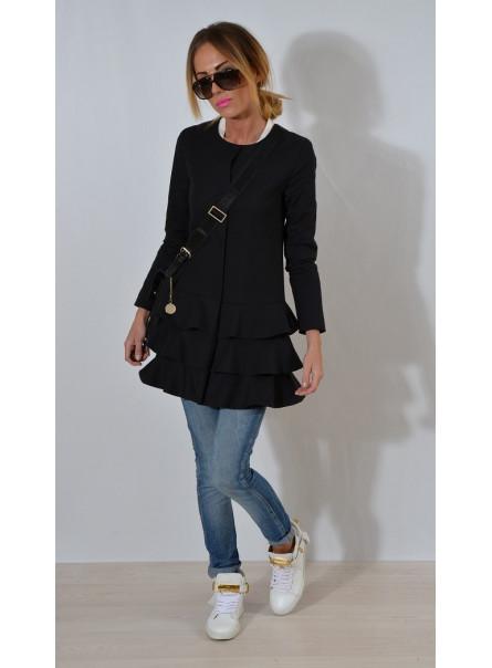Płaszcz z falbanami czarny
