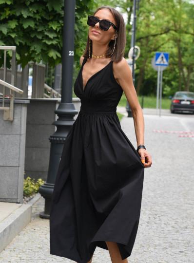 Sukienka z gumkami pod biustem czarna