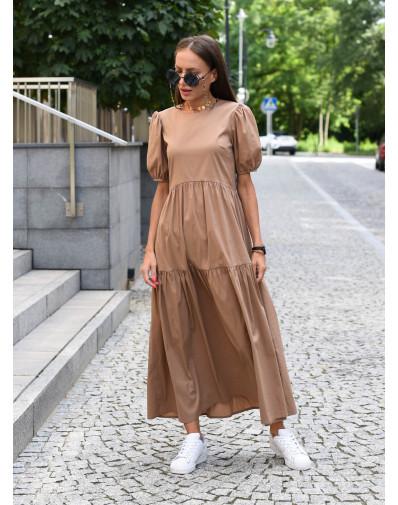 Sukienka Lissa z popeliny o szerokim kroju camel