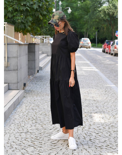 Sukienka Lissa z popeliny o szerokim kroju czarna
