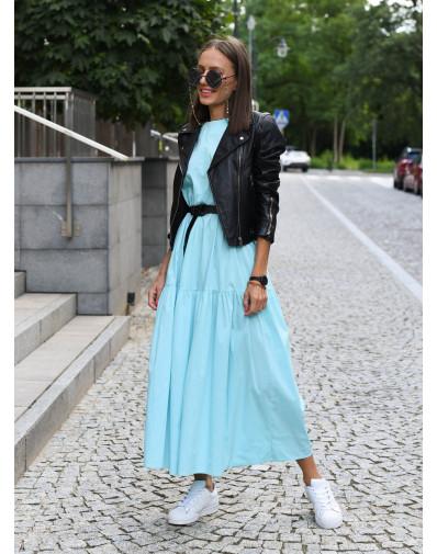Sukienka Lissa z popeliny o szerokim kroju błękitna