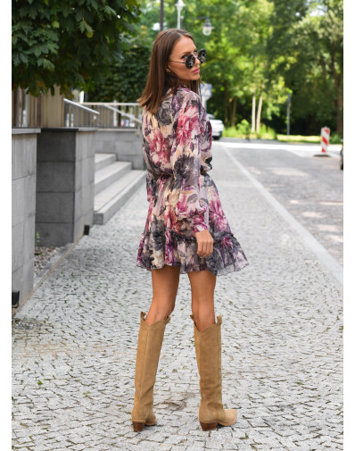 Sukienka szyfonowa z reglanem