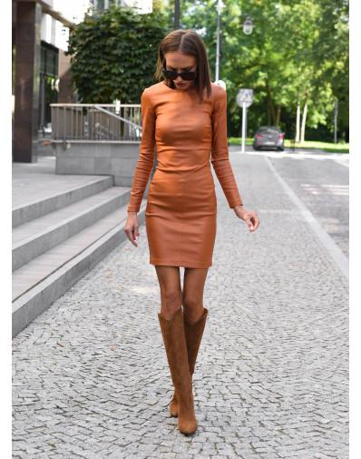 Sukienka woskowana karmel