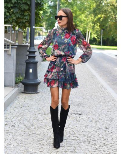 Sukienka Elena szyfonowa z falbankami