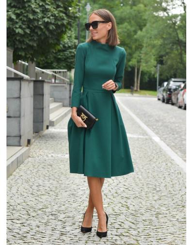 Sukienka ze stójką butelkowa zieleń