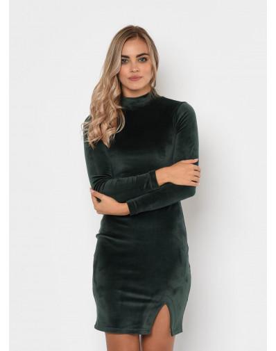 Sukienka z weluru LUNA z rozcięciem zielona