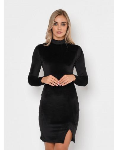 Sukienka z weluru LUNA z rozcięciem czarna