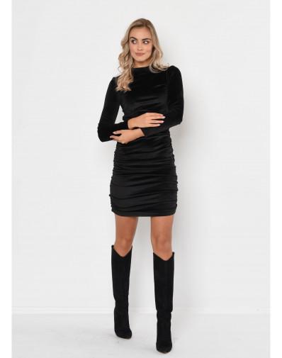 Drapowana sukienka z weluru czarna