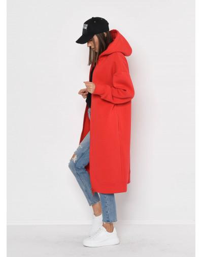 Czerwona długa bluza z kapturem