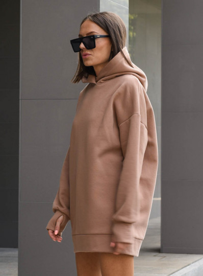 Bluza oversize z kapturem camel