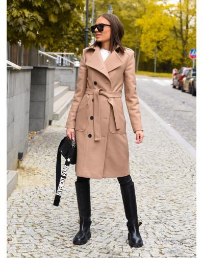 Płaszcz dwurzędowy z ociepleniem beż
