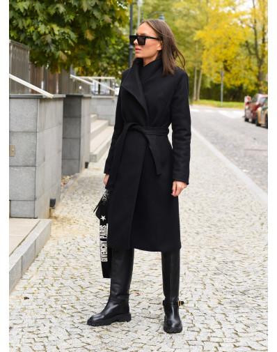 Płaszcz ocieplany zapinany na magnes czarny