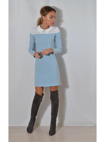 Sukienka z karczkiem błękit